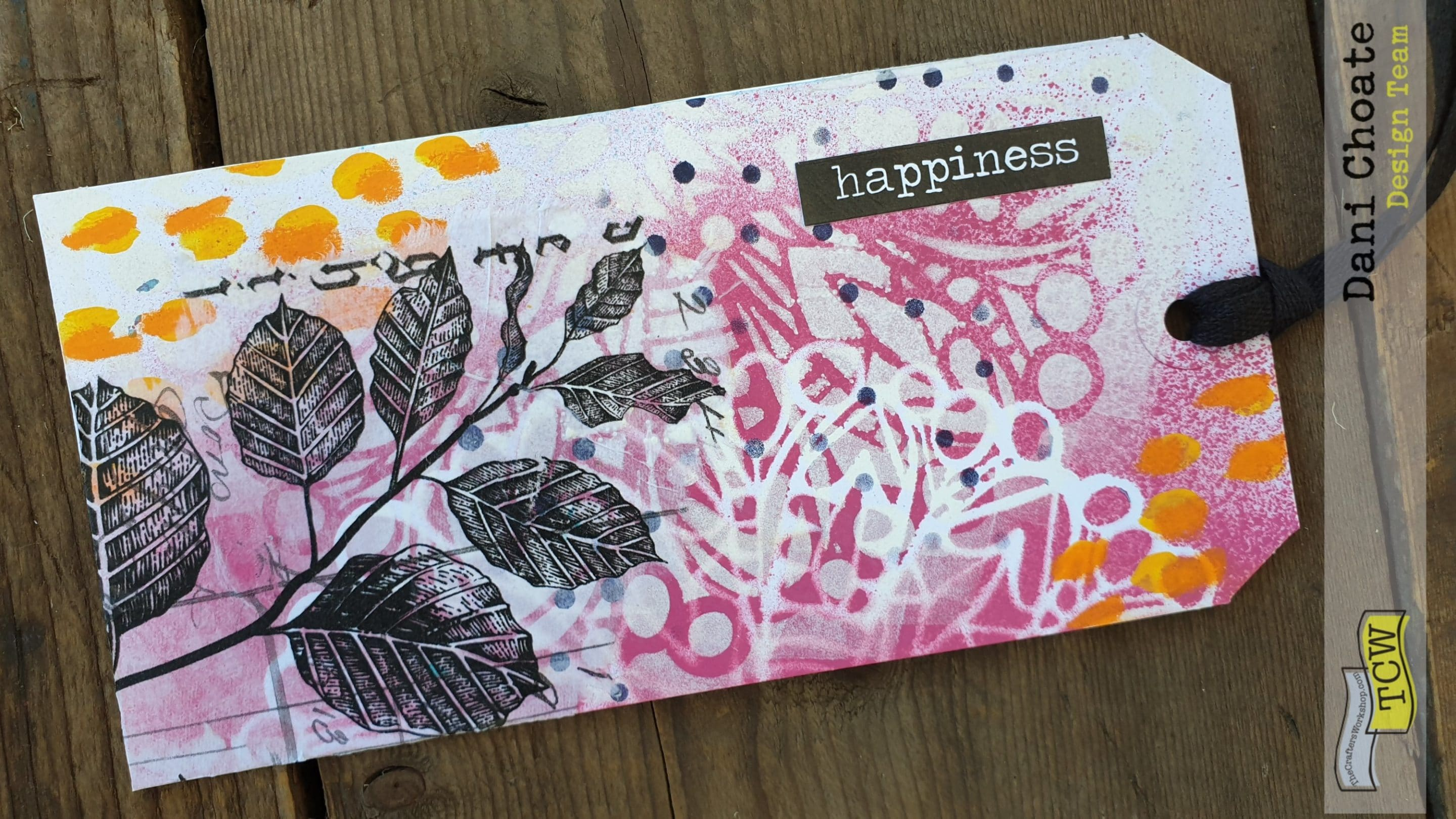 Close up of pink happiness tag