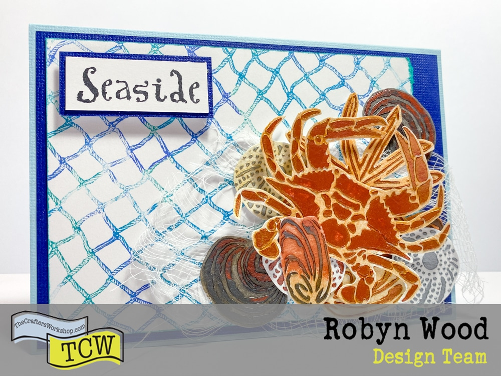 The Crafter's Workshop blog post - Shells by the seaside card – a stencilled card page by Robyn Wood