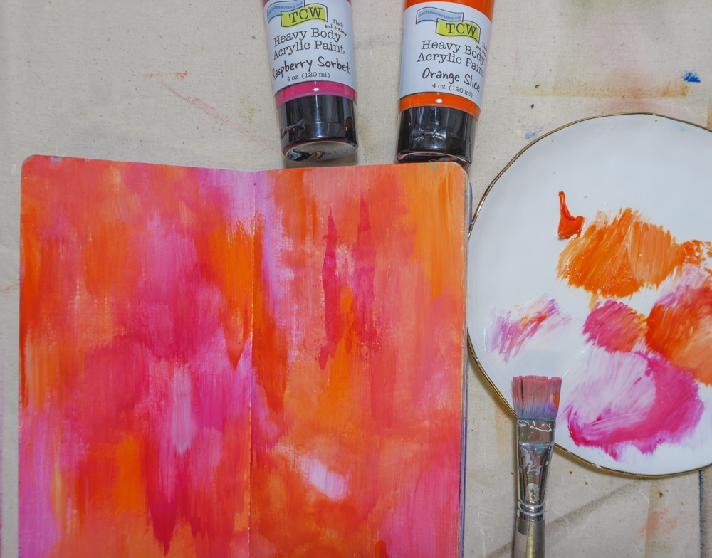 Cover page with TCW Heavy Body Acrylic Paint in Orange Slice & Raspberry Sorbet