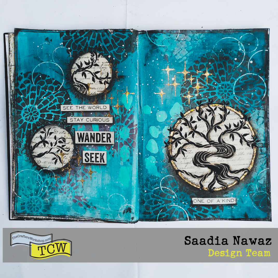 A mixed media journal spread with acrylic paints, stencils by The Crafter's Workshop, texture products, acrylic mediums, gilding.