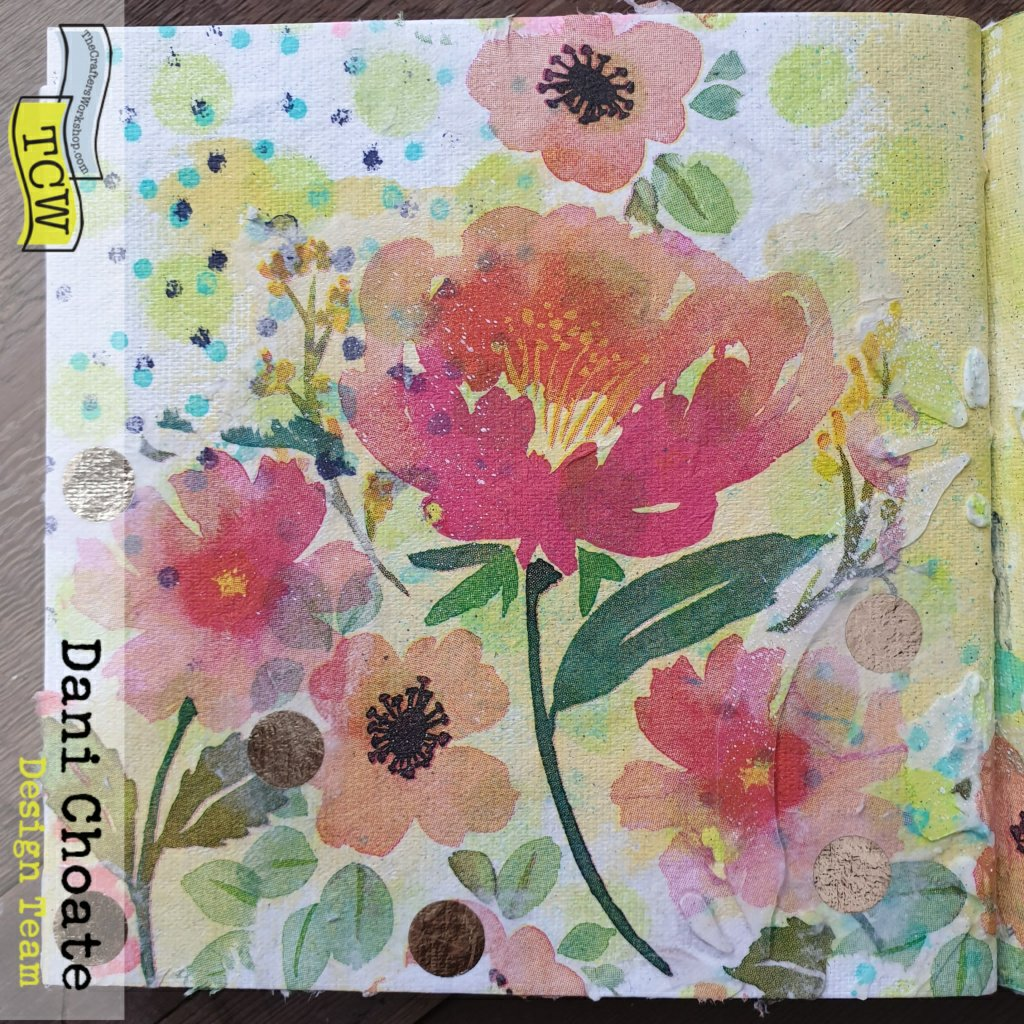 left hand page featuring flowers and sprays