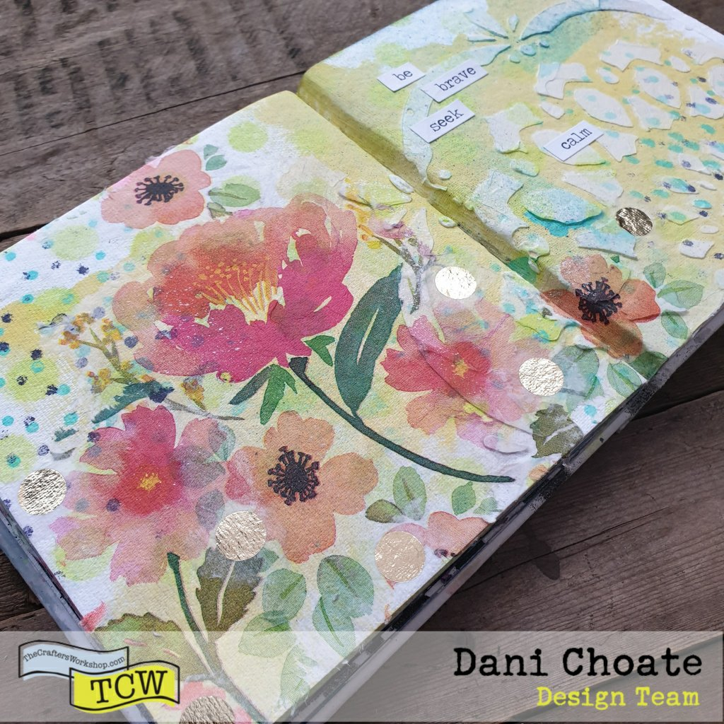 Floral page with napkin collage