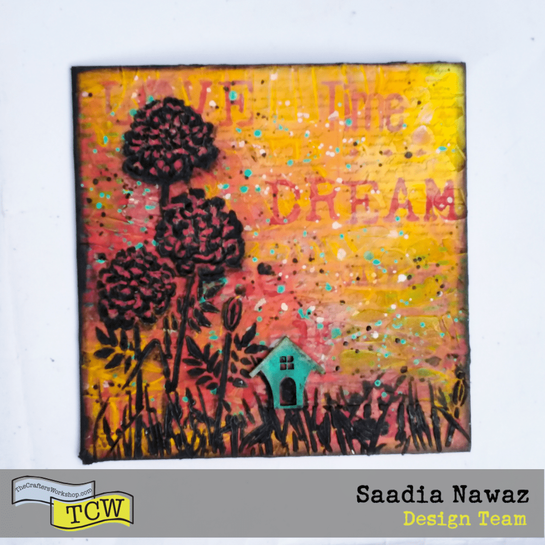 Mixed media project on media board with acrylic paints, inks, acrylic mediums, tcwstencils.