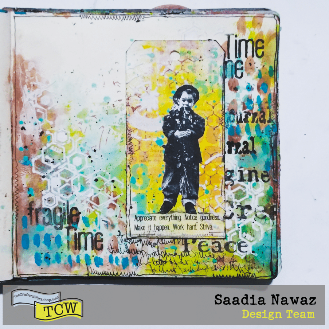 A mixed media journal spread with the Crafter's Workshop stencils, acrylic paints, inks, texture products and rubber stamping, journaling