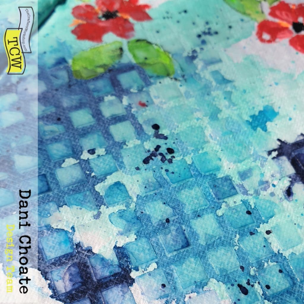 close up of the texture of the super thick gel and TCW5017 - Lattice stencil