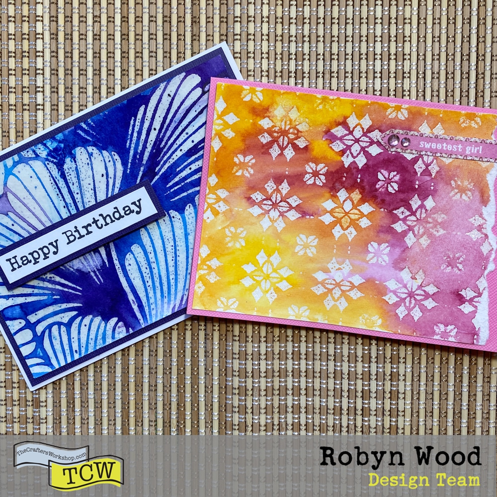 The Crafter's Workshop Blog – Quick and Easy Cards with Stencilled Embossing – stencilled cards by Robyn Wood