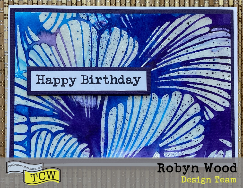 Finished card with watercolored background and Happy Birthday sentiment.
