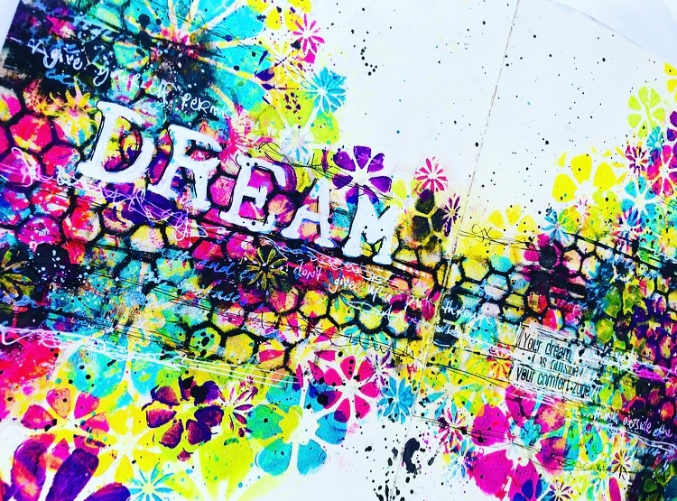 close up of floral colorful art journal page Tammy Klingner #tcwstencillove