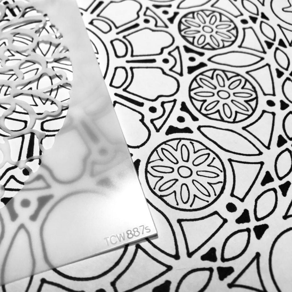 6x6 TCW887 Circle Gate Stencil center through 12x12 TCW873 Orb Mandala Stencil inner orbs.