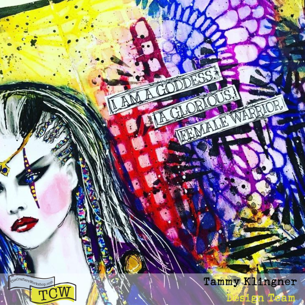 Bold and dramatic snippet of an art journal page about a female warrior/goddess. Colors include deep blue, yellow, plum and magenta. #tcwstencillove #tammyklingner