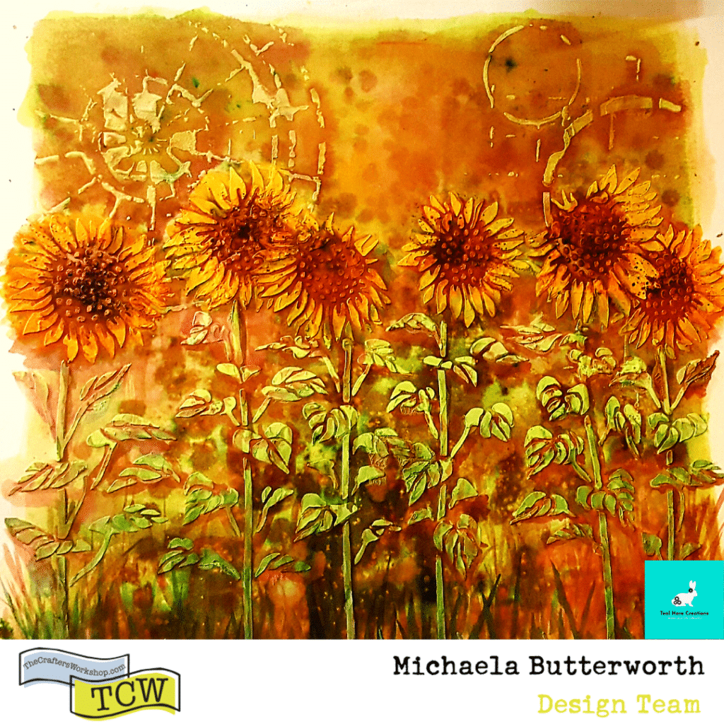 "Image of the 12"" x 12"" completed Sunflower Garden on mixed media board."