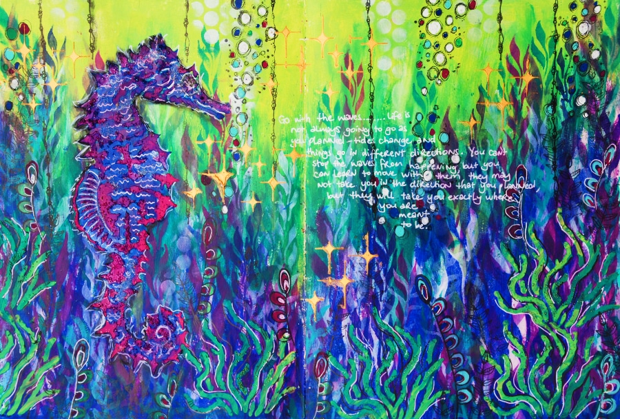 Underwater theme with seahorse Art journal #tcwstencillove Tammy Klingner