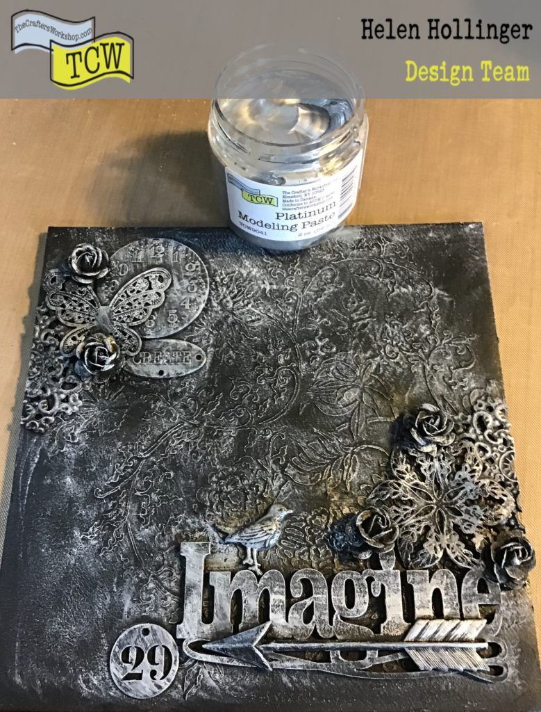 Using Platinum modeling paste over raised canvas areas