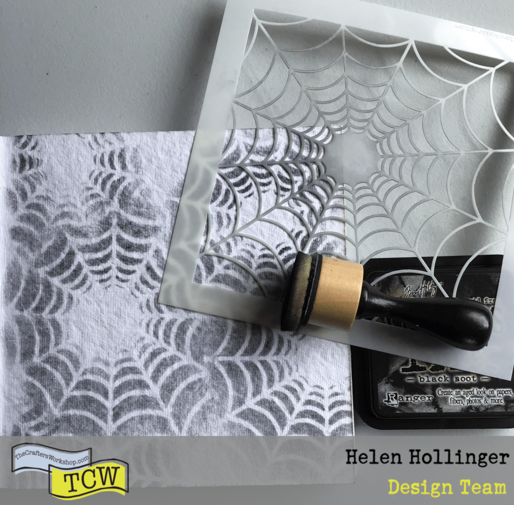 Using TCW877 Spiders Web Stencil and Black Soot ink, make spider webs over entire page using a blending tool.