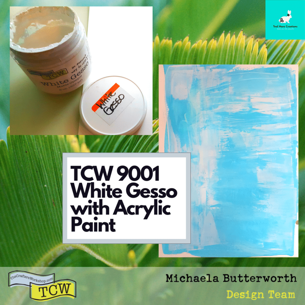 Images showing TCW9001 White gesso, mixed on the page with light blue acrylic paint, both applied together with an old hotel key card.