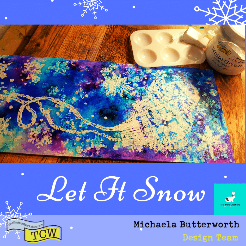 Close up image showing the snowy mittens stencil applied with white gesso and a cosmetic sponge to the mixed media board.