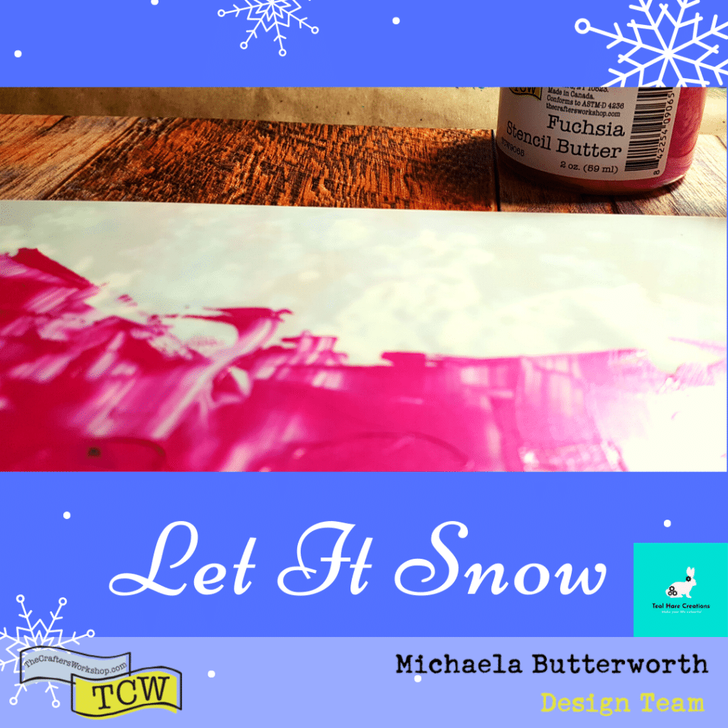 Close up image showing the Fuschia Stencil Butter applied to the stencil using a palette knife.