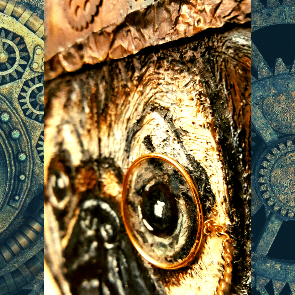 Close up image showing Pugsly's completed monocle in detail.
