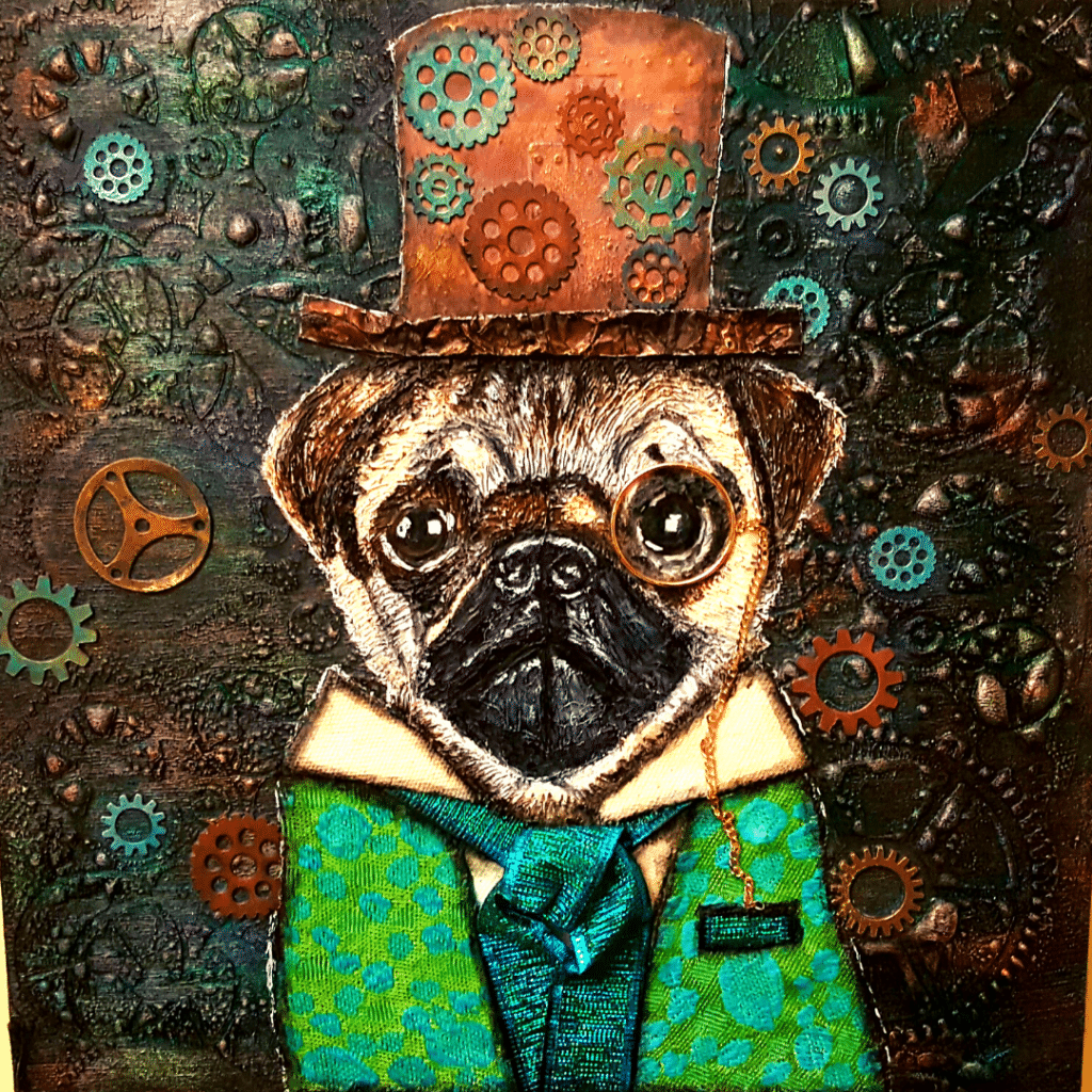 Sir Pugsly Pugsworth's completed Steampug portrait.